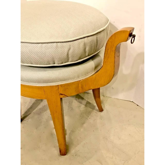 Art Deco French Deco Vanity Stool in Sycamore For Sale - Image 3 of 7