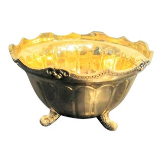 Vintage Brass Large Footed Bowl Planter For Sale
