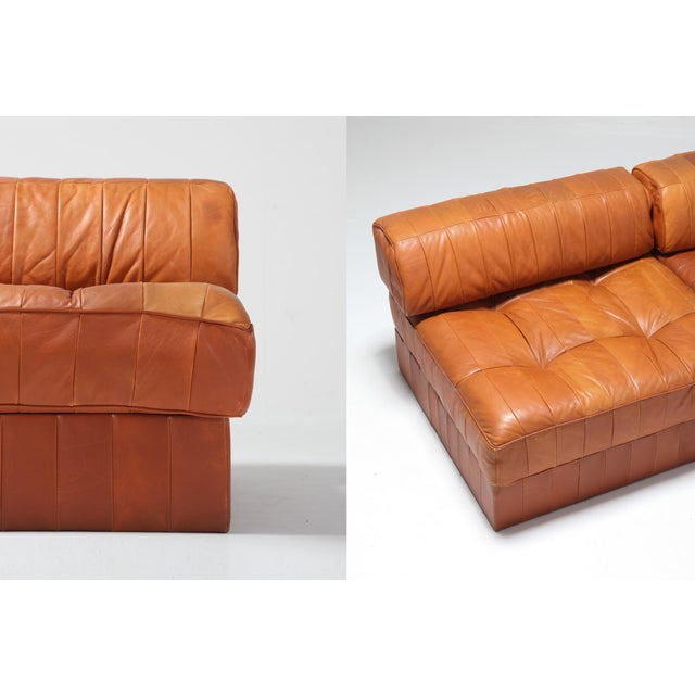Brown Cognac Leather Patchwork Ds 88 De Sede Sectional Sofa For Sale - Image 8 of 11