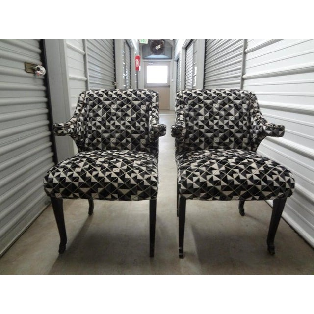 Hollywood Regency James Mont Inspired Ebonized Chairs With Hoof Feet-A Pair For Sale - Image 3 of 13