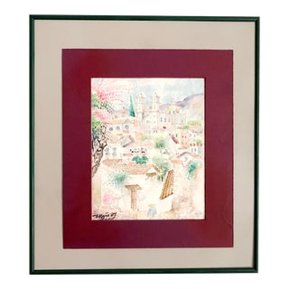 Taxco, Mexico by Mejia, Signed Vintage Original Watercolor of Taxco Town, Original 1980s Art For Sale