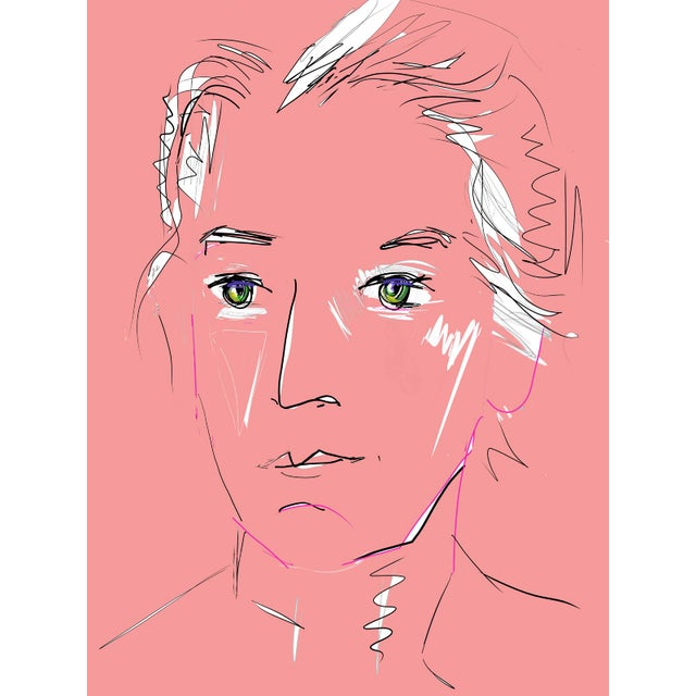 """""""Pink Lady"""" by Trixie Pitts Original Print on Heavy Paper For Sale - Image 13 of 13"""