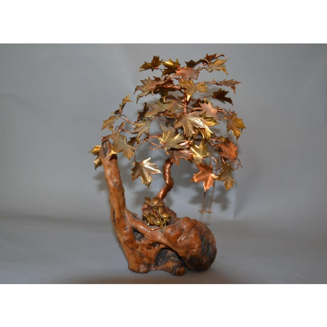 Handcrafted Bonsai Tree Brass, Copper, Bronze Sculpture on Burl Wood Base For Sale In Miami - Image 6 of 13
