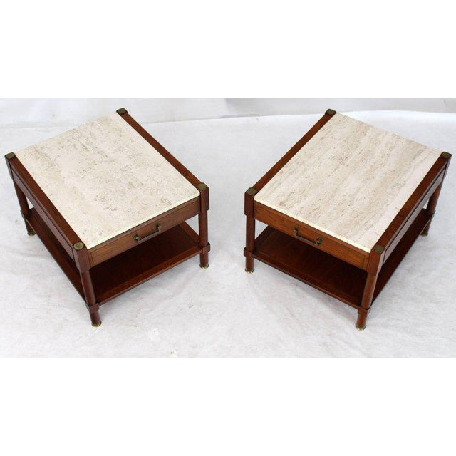 Pair of Travertine Tops One Drawer Oiled Walnut End Side Tables For Sale - Image 13 of 13