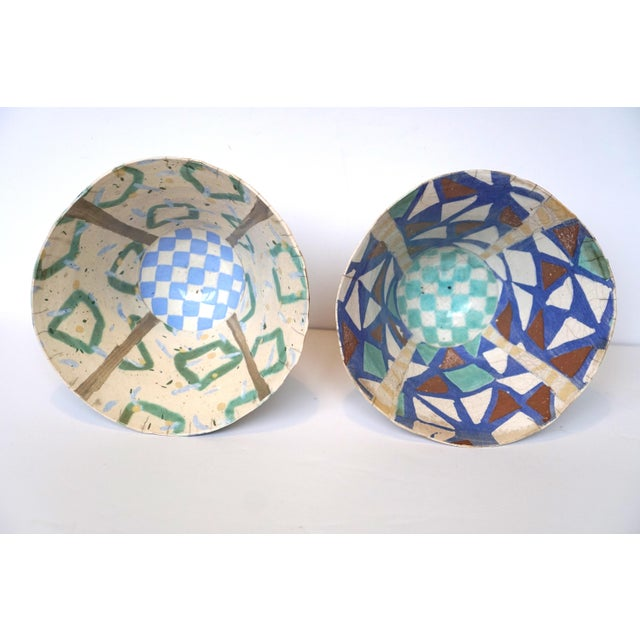 Rustic Patterned Pottery Vases - A Pair - Image 2 of 8
