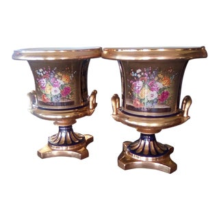 Limoges 24kt Gold and Porcelain Urns - a Pair For Sale