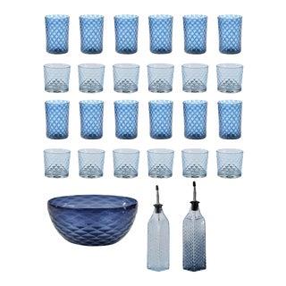Summer Blues Bundle, Glassware & Serving Accessories - 27 Pieces