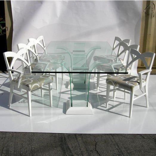 Modernage Glass Dining Table With Chairs For Sale In Los Angeles - Image 6 of 9