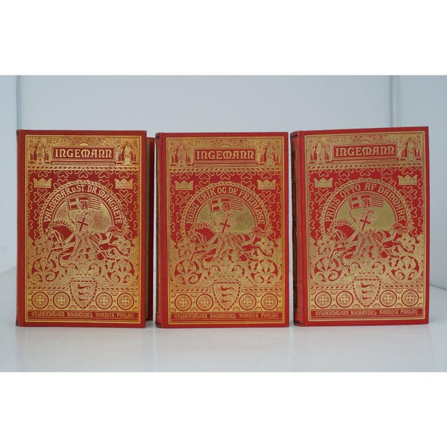 Antique 19c Decorator Books - Red With Gold Embossing For Sale In West Palm - Image 6 of 8