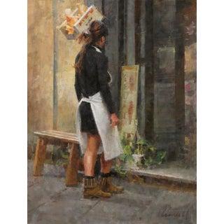 "James Crandall ""Waitress Outside a Gelateria"" For Sale"