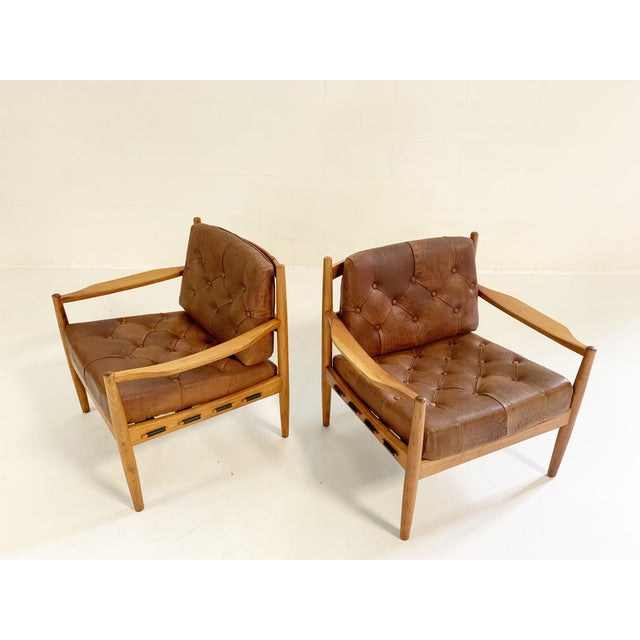 Mid-Century Modern Ingemar Thillmark Lacko Buffalo Hide Lounge Chairs - a Pair For Sale - Image 3 of 8
