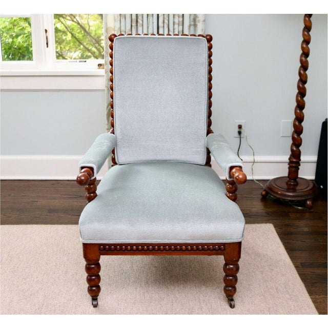 Classic 20th Century Upholstered English Bobbin Turned Lounge Chair on Castors For Sale In New York - Image 6 of 12