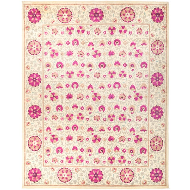 """Suzani Hand Knotted Area Rug - 12' 3"""" X 15' 3"""" For Sale - Image 4 of 4"""