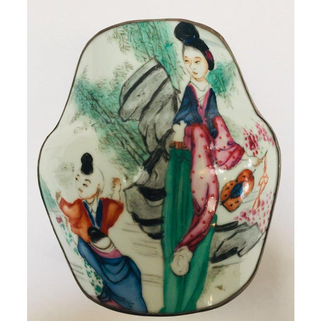 Vintage Trinket Metal Box With Porcelain Top Hand Painted Asian Scene For Sale In Los Angeles - Image 6 of 13