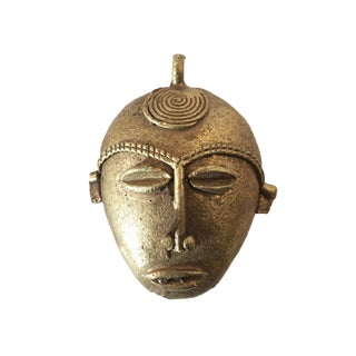 "African Baule Gold Weight Passport/Pendant Bronze Mask 2.75"" H For Sale"