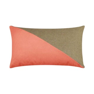 Coral & Tan Velvet Lumbar Pillow