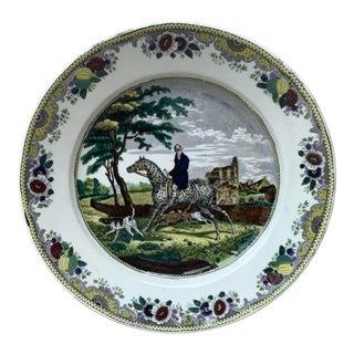 1840 Choisy Le Roi French Transferware Horseman Hunter Platter For Sale