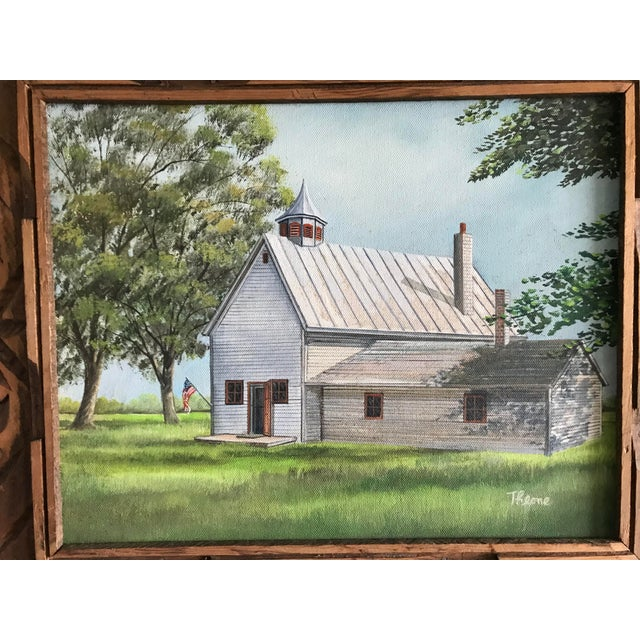 Wonderfully painted white school house with trees and prairie grass. American flag hanging from the front door. Signed by...