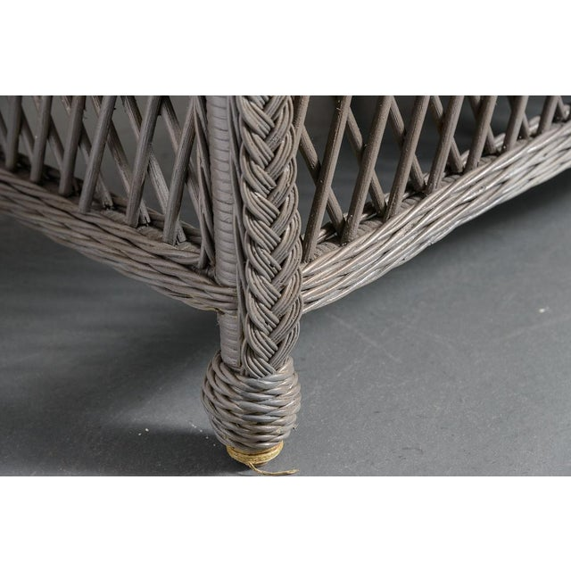 Vintage High Back Wicker Loveseat/Settee in Grey For Sale - Image 4 of 12