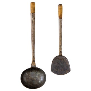 Antique Hand-Forged Ladle & Spatula, Set of 2 For Sale