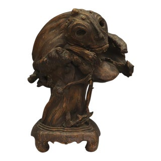 Early 20th Century Antique Chinese Handcarved Burl Tree Root Spirit Carving For Sale