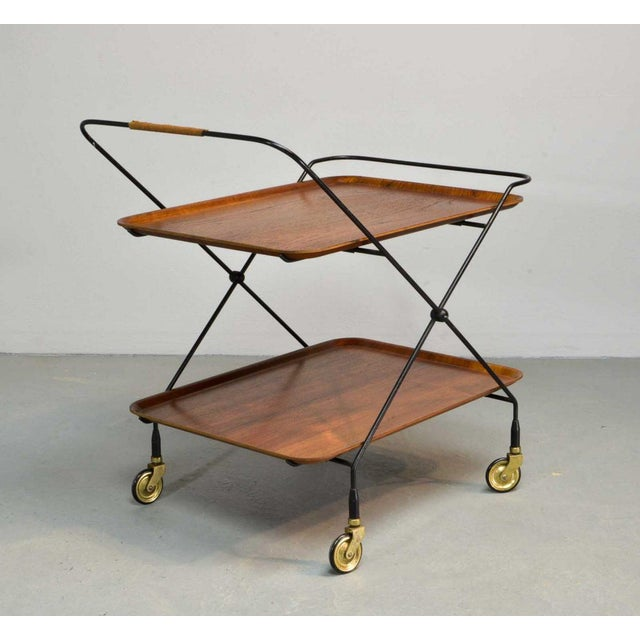 This beautiful foldable and mobile teak trolley on a minimalistic steel base, was designed by Paul Nagel, Germany in the...