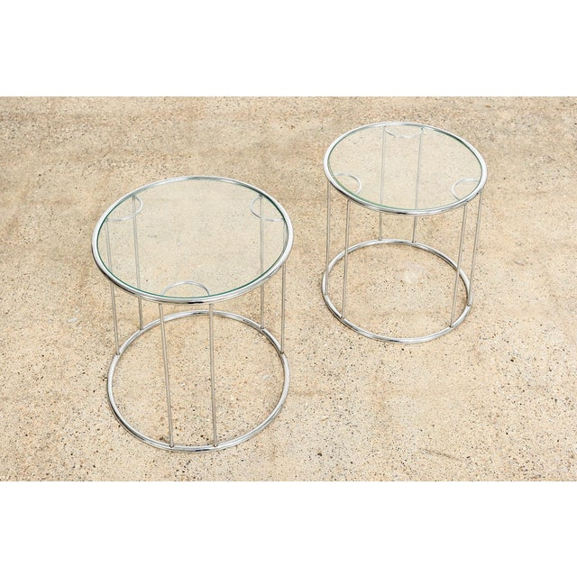 Mid Century Baughman Style Chrome & Glass Nesting Side Tables For Sale In Detroit - Image 6 of 11