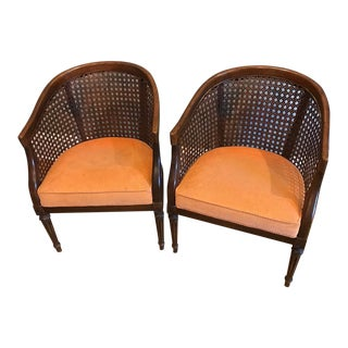 Mid Century Cane Barrel Chairs For Sale