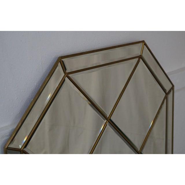 Brass Frame Harlequin Pattern Beveled Glass Mirror - Image 5 of 10