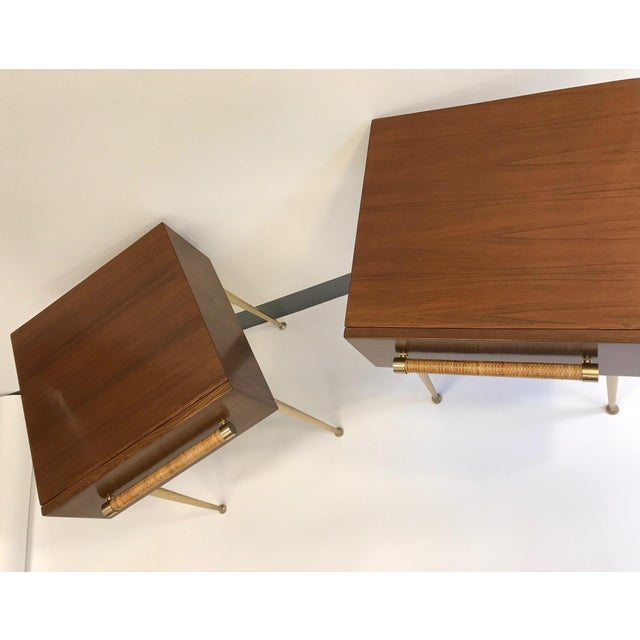 T.H. Robsjohn-Gibbings Walnut and Brass Nightstands - a Pair For Sale - Image 11 of 12