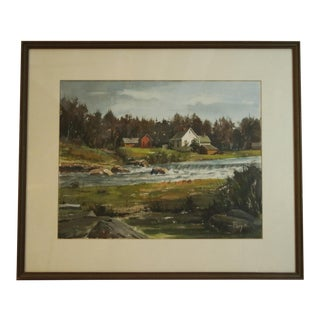 Vintage Mid-Century Russel Flory Framed Watercolor Painting For Sale