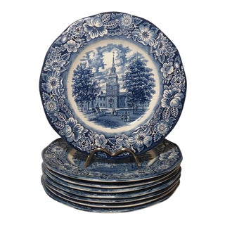 """Staffordshire """"Independence Hall"""" Dinner Plates - Set of 6 For Sale"""