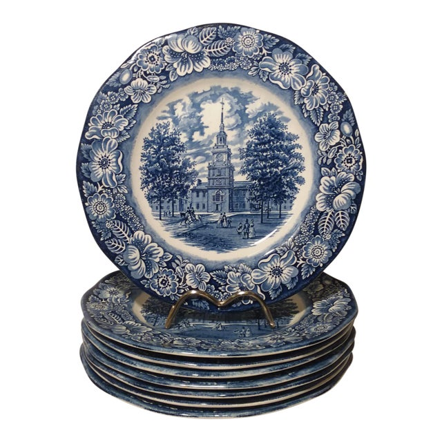 "Staffordshire ""Independence Hall"" Dinner Plates - Set of 6 For Sale"