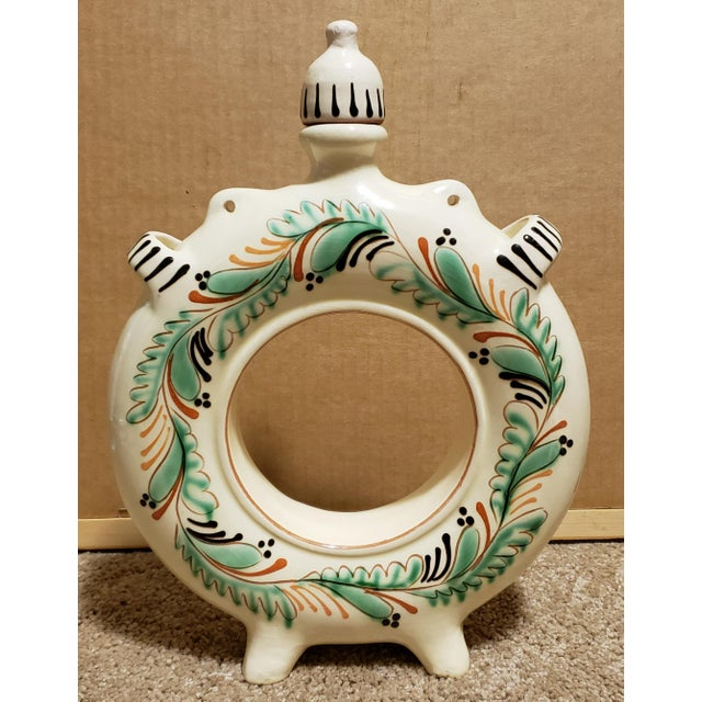 Traditional Circa 1940 Hungarian Glazed Redware Pottery Round Ring Water Jug For Sale - Image 3 of 7
