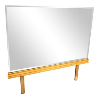 1960s Kling Rectangular Bevelled Mirror With Blonde Solid Curly Maple Bottom For Sale
