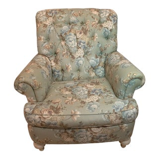 Custom Upholstered Ethan Allen Tufted Lounge Chair For Sale