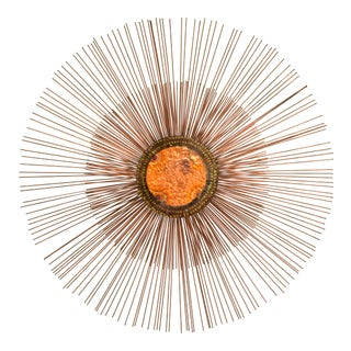 Curtis Jere Copper Rod Sunburst Wall Sculpture For Sale
