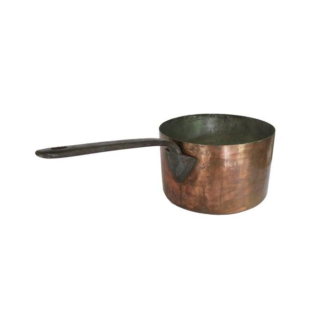 Antique 12 Quart Copper Pot Insert With Long Cast Iron Handle For Sale
