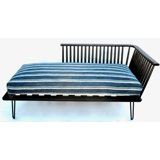 Mid-Century Modern Daybed Settee With African Upholstery For Sale - Image 4 of 9