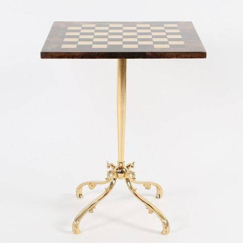 Metal 1950S ALDO TURA GOATSKIN GAMES TABLE WITH BRASS BASE For Sale - Image 7 of 10