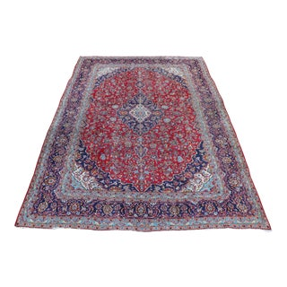 1980s Red & Navy Persian Rug - 8′4″ × 12′6″ For Sale