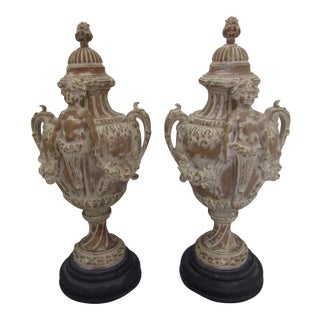 Spanish Stone Carved Urns - a Pair