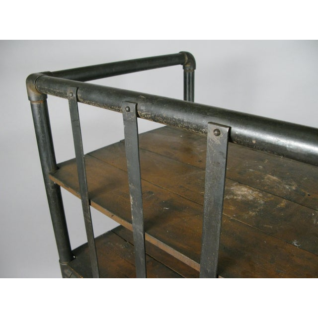Antique 1950s Industrial Cast Iron Rolling Cart Bookcase For Sale In New York - Image 6 of 8