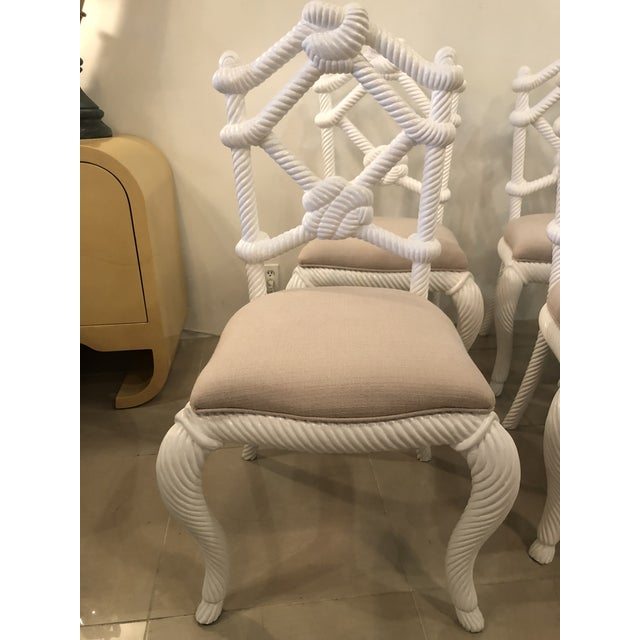 White Vintage Nautical White Lacquered Wood Rope Side Dining Chairs -Set of 4 For Sale - Image 8 of 10