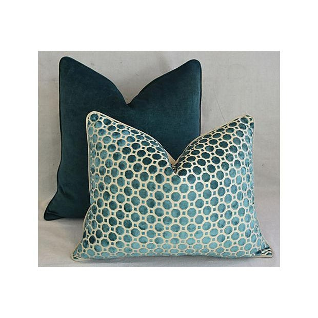Cotton Custom Tailored Marine Green/Turquoise Velvet Feather/Down Pillows - Set of 2 For Sale - Image 7 of 8