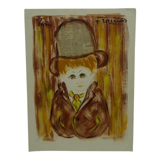 "Original Mixed Media French Painting on Paper ""Little Boy"" by Francois, 1970"