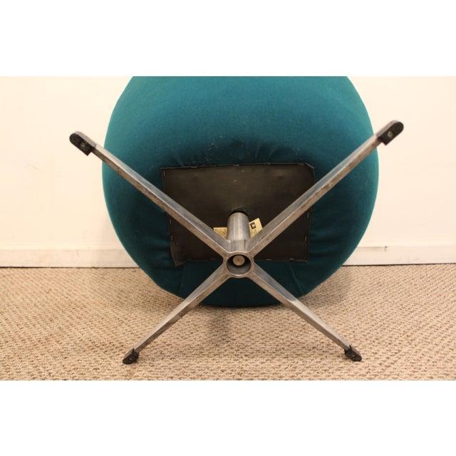 Danish Mid-Century Modern Overman Style Swivel Chrome Base Pod Chair For Sale In Philadelphia - Image 6 of 11