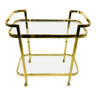 1980s Contemporary Brass and Glass Bar Cart
