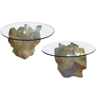 1940s Hollywood Regency Faux Stone Plaster Tables - a Pair For Sale