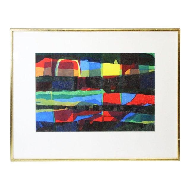 Abstract Framed Rainbow Print For Sale